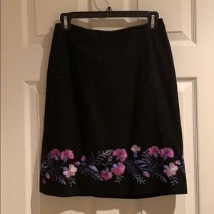 Black Ann Taylor LOFT Embroidered Pencil Skirt